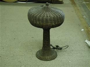 Woven wicker lamp circa 1910