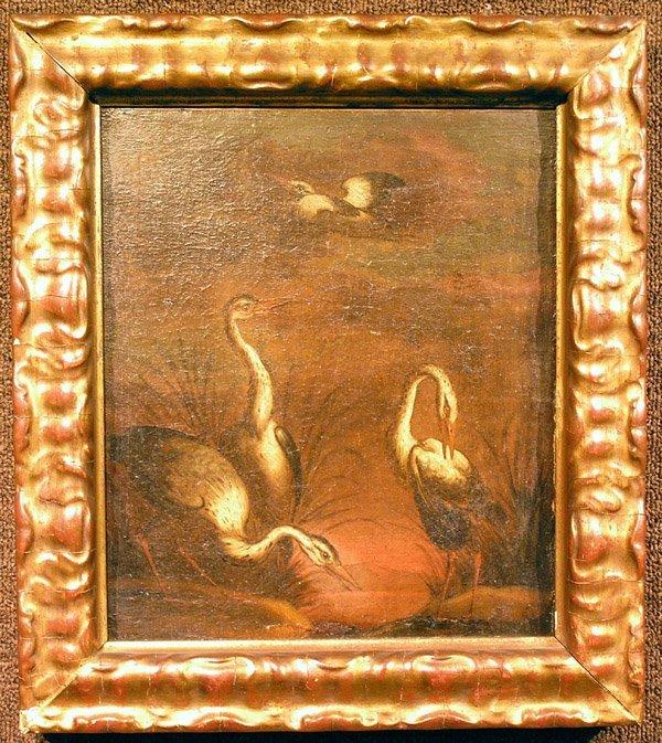 6002: Oil, Herons, 18th century