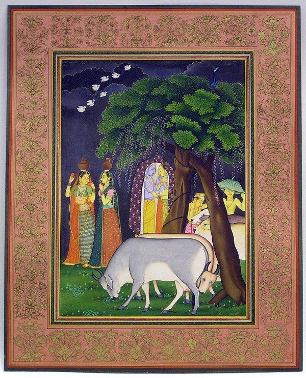 6014: Indian miniature gouache