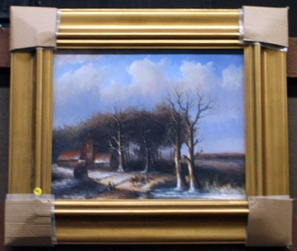 4005: Oil landscape of an 18th c. scene