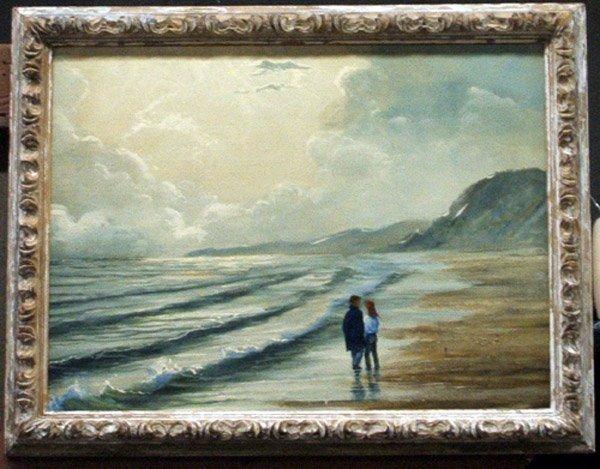 4006: Oil on canvas, Beach Scene