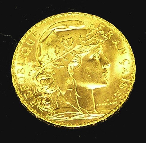 4493: 12 French Gold Rooster coins