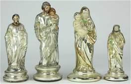 lot of 4 Mercury glass religious icons