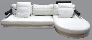 Moderne BB Italia white leather sectional sofa