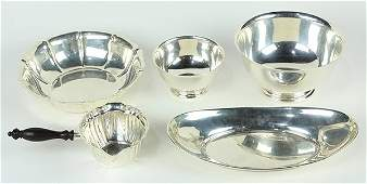 (lot of 5) American sterling silver hollowware group