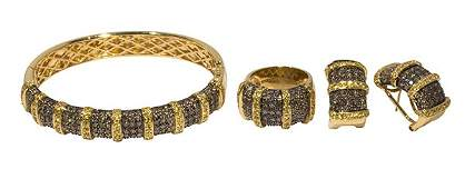 Brown diamond, yellow sapphire and 18k yellow gold