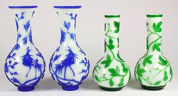 Chinese Peking Overlay Glass Vases