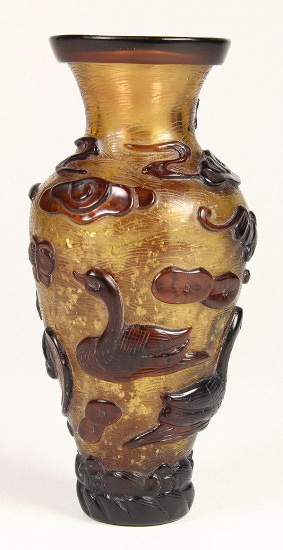Chinese Peking Glass Vase, Geese