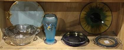 One shelf of art glass