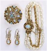 Opal, cultured pearl, diamond and yellow gold jewelry