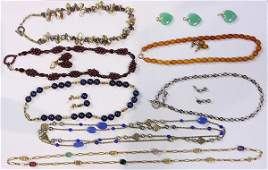Collection of gem gold and silver jewelry