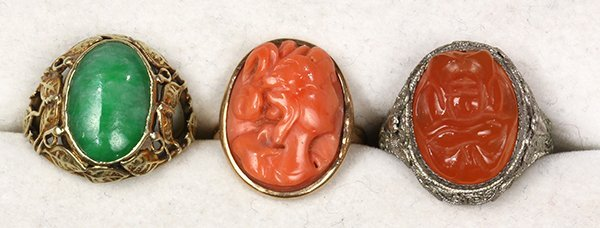 (Lot of 3) Jade, carnelian, coral, gold and silver