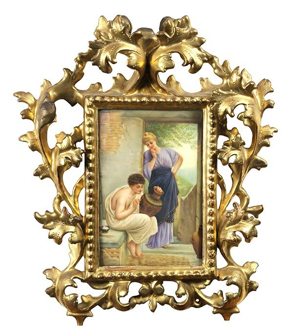 Framed Continental hand painted porcelain plaque,