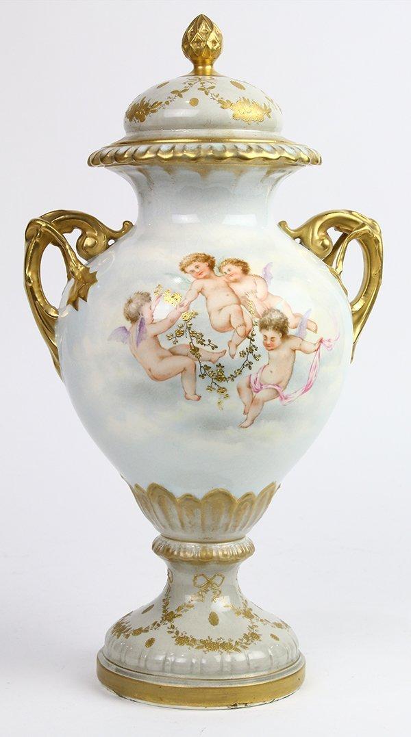 Continental porcelain urn