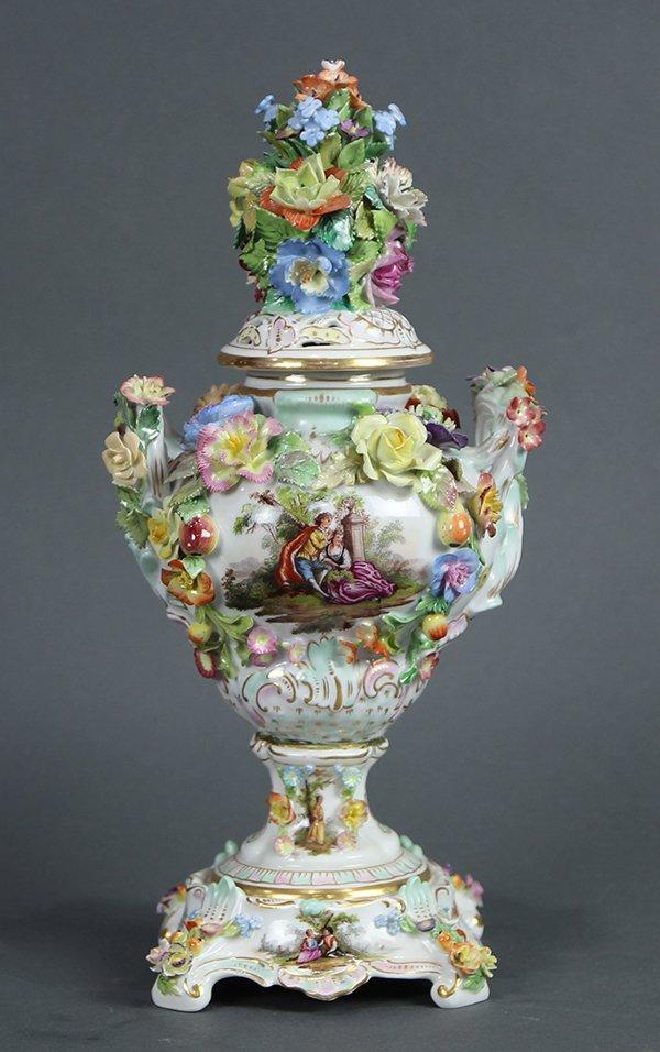 Dresden floral encrusted lidded porcelain urn
