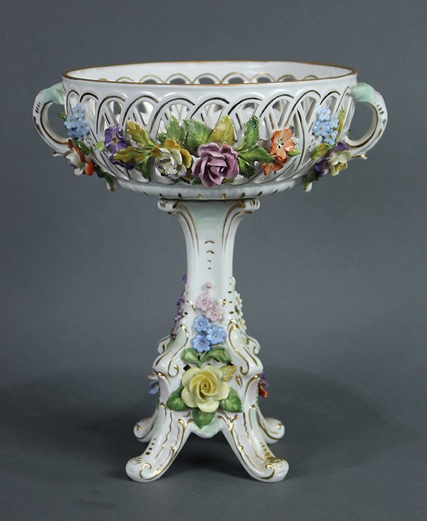 Dresden floral encrusted porcelain basket