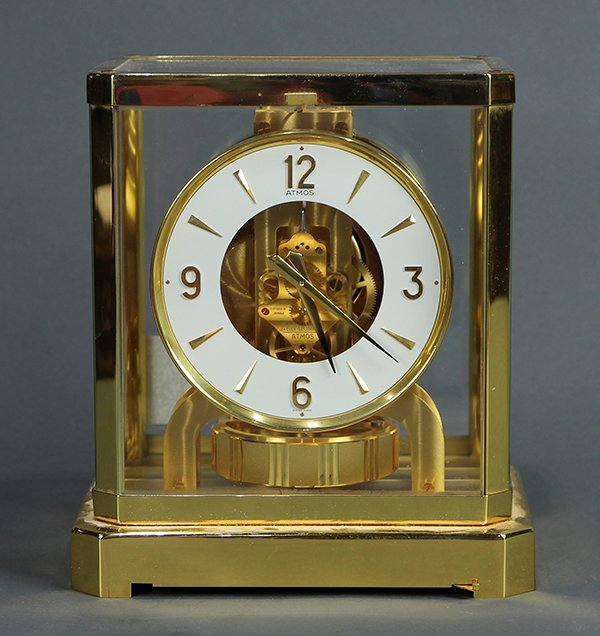 Jaeger Lecoultre Atmos clock, having a brass with glass