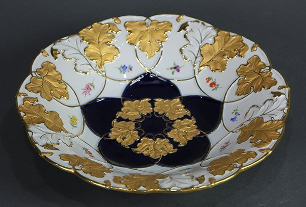 Meissen decorated bowl, having a raised gilt floral