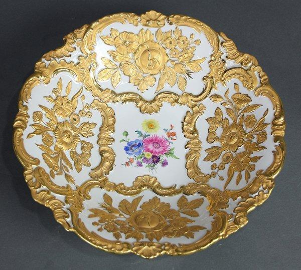 Meissen partial gilt bowl, having a raised gilt floral