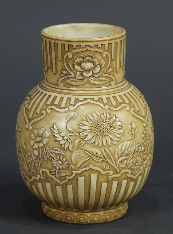 English cameo glass vase foliate and linen decorated