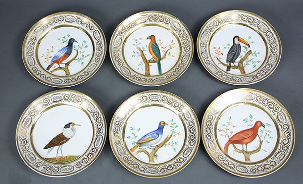(lot of 10) Continental painted porcelain plates, each
