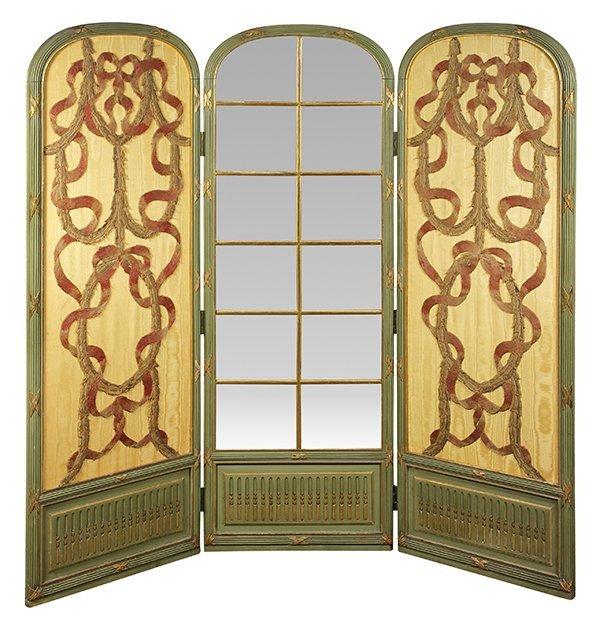Louis XV style three panel partial gilt screen, 19th