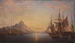 Painting, Harbor Sunset, Istanbul