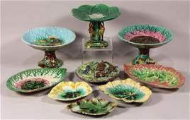 (lot of 9) Group of majolica table articles