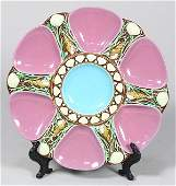 Minton majolica pink ground oyster plate