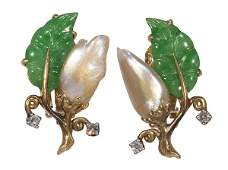 Pair of freshwater cultured pearl, jadeite, diamond and