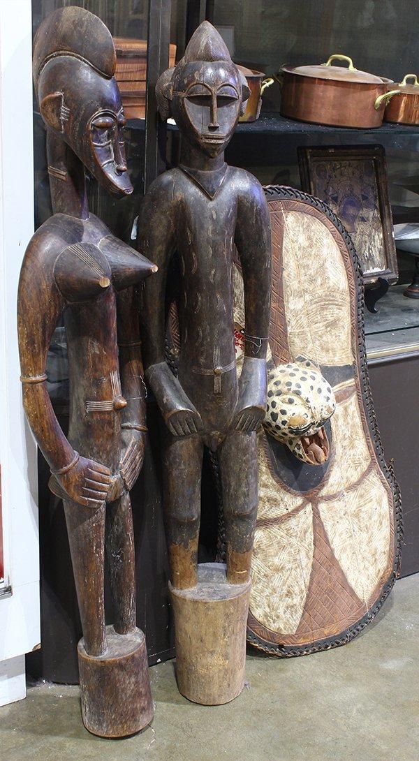 (lot of 3) Luba/Kifwebe Society, Congo polychrome