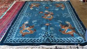 Chinese part silk carpet with meandering dragons, 6' x