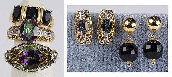(Lot of 5) Multi-stone, 14k yellow gold, sterling