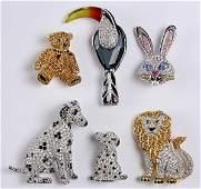 (Lot of 6) Swarovski crystal animal brooches