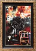Cafe Scene with Lady in Black giclee