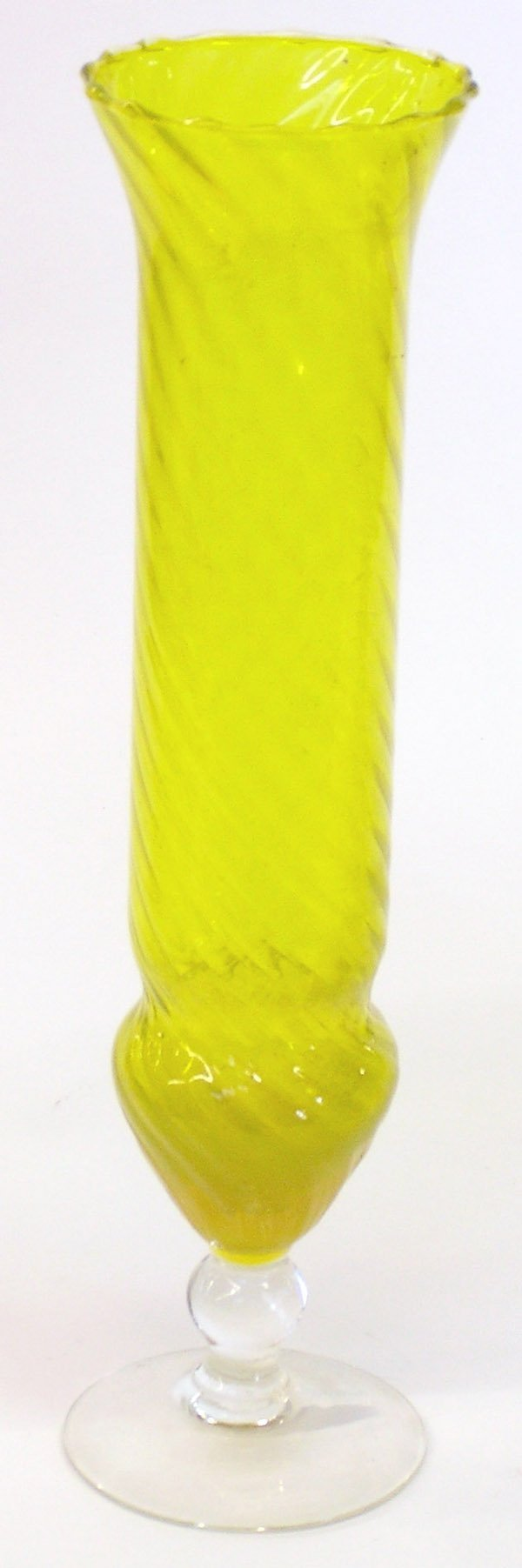 10: Vaseline yellow glass vase