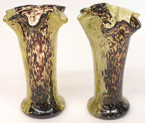 21: Pair of art glass leopard vases