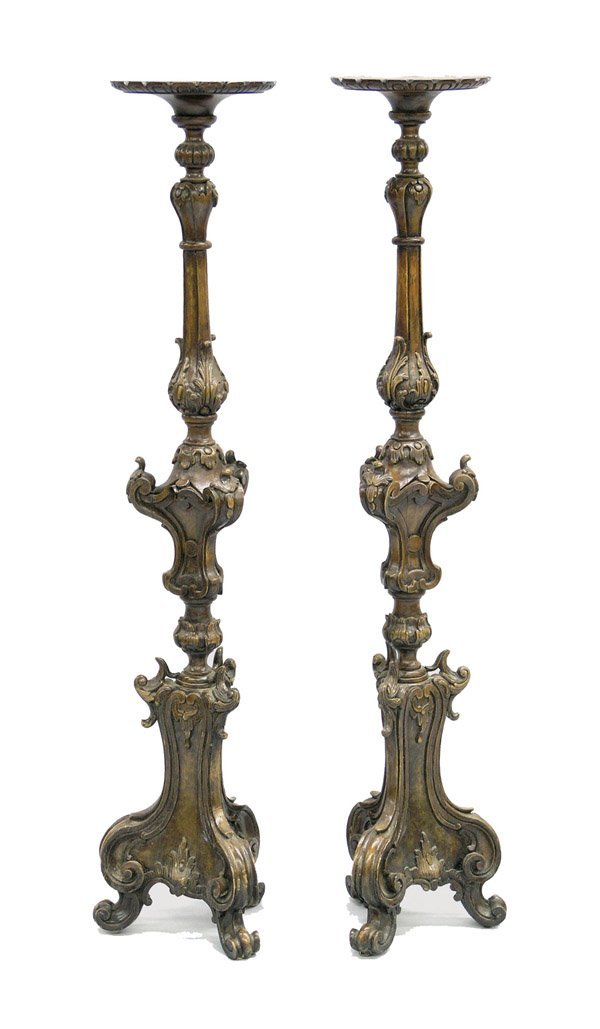 2171: Pair of Carved Italian Wood Prickets