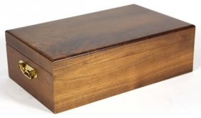 Continental Walnut Humidor With A Hinged Lid And Brass