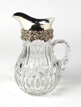 Sterling Silver And Cut Crystal Pitcher