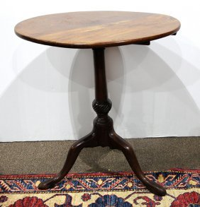 English Mahogany Tilt-top Tea Table, 18th Century,