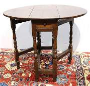 William and Mary style drop leaf gateleg table, circa