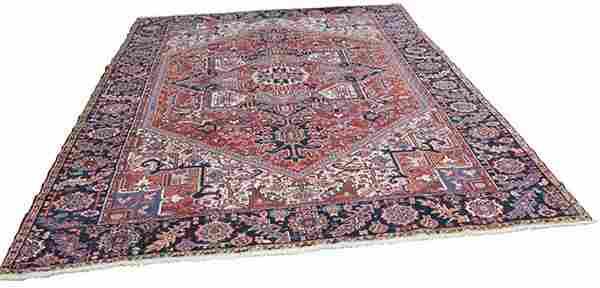 Semi antique Persian Heriz carpet