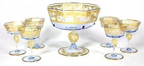 (lot Of 7) Venetian Crystal And Partial Gilt Stemware
