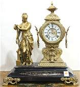 Ansonia French figural mantle clock Early 20th