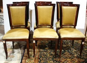 (lot Of 6) Art Deco Style Mahogany Dining Chairs