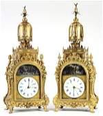 Rare pair of Chinese ormolu bronze Automaton clocks,