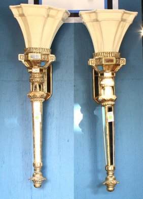 Pair Of Venetian Style Mirrored Wall Sconces