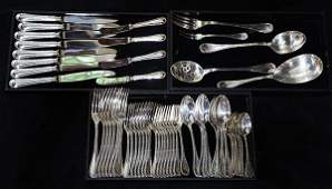 (lot of 57) French silver-plate flatware service for