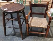 lot of 2 American Primitive childrens furniture